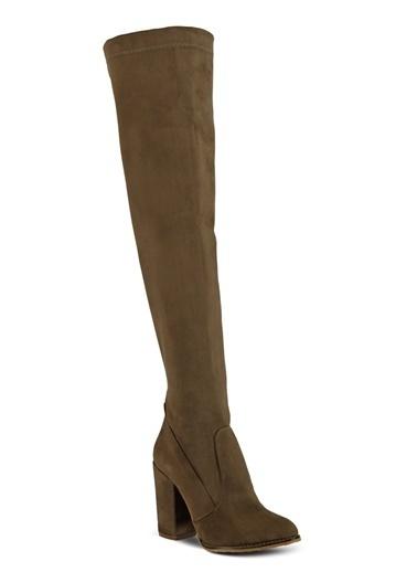Topuklu Uzun Süet Çizme-Marjin